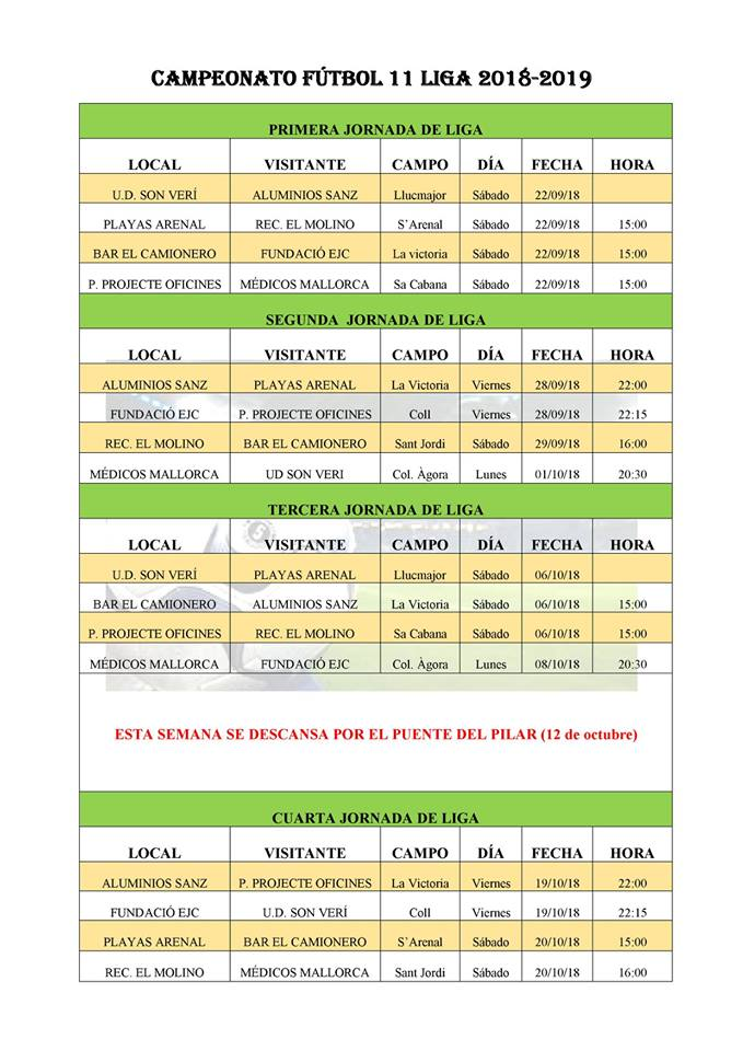 Calendario De La Liga Espanola De Futbol.Futbol De Empresas Fiestadeportiva Com
